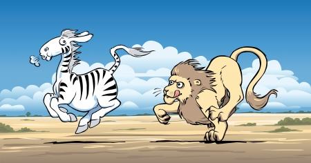 faster: Lion hunting a zebra Illustration
