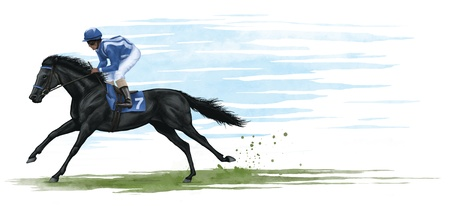 horse riding: illustration of a black race horse. digital illustration. Stock Photo