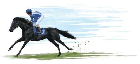 illustrazione di un cavallo di razza nera. illustrazione digitale.