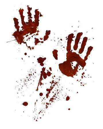 Impronte di mani insanguinate isolati su bianco Archivio Fotografico