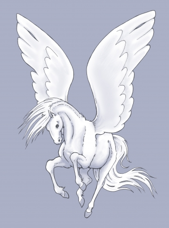 Illustration of a white flying Pegasus Stock Photo