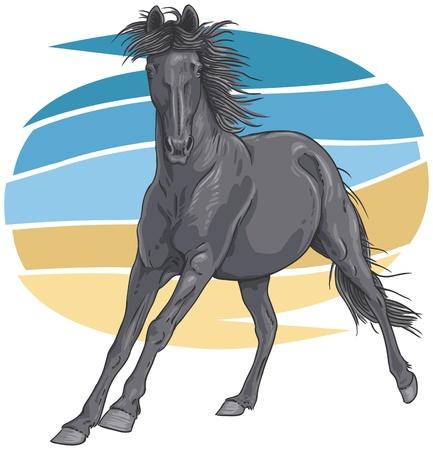 Nero cavallo al galoppo illustrazione Vettoriali