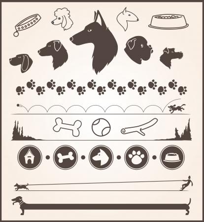 huesos: conjunto de varios elementos de dise�o perro tem�tico