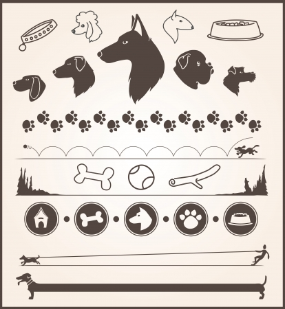 set of various dog themed design elements Vector