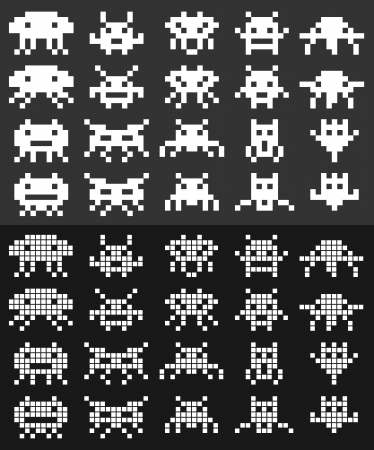 Two sets of 10 individual pixel aliens