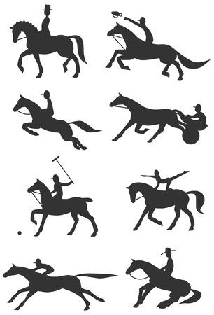 cavallo che salta: Otto Icone Sagome di famosi sport equestri