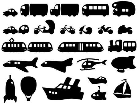 Set of cute transportation icons Illustration