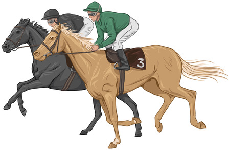 light brown horse: Two jockeys on their racehorses