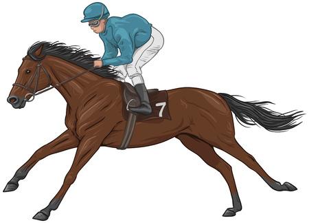 Jockey on a brown racehorse Illustration