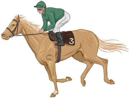 Jockey on a palomino racehorse Illustration