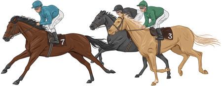 Tre fantini sui loro cavalli da corsa