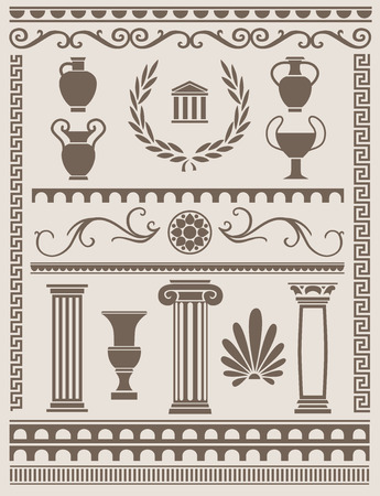 Ancient greek and roman design elements Illustration