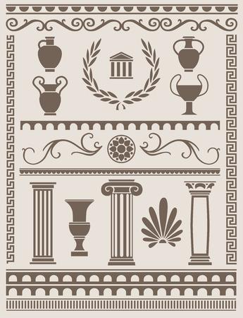 ancient roman: Ancient greek and roman design elements Illustration