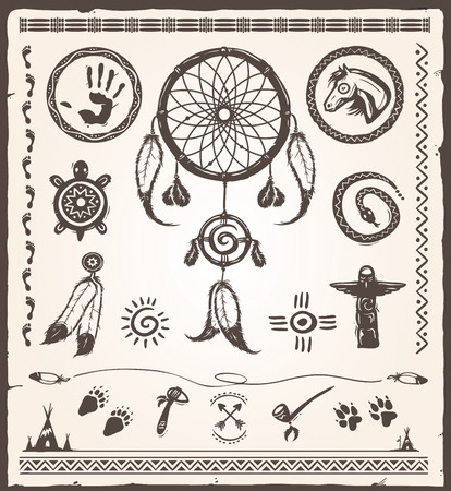 collection of various native american design elements