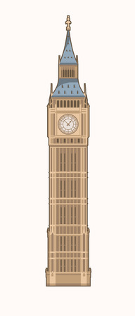 elizabeth tower: Vector illustration of the Big Ben Elizabeth Tower in London Illustration