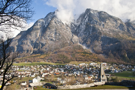 Valley in Liechtenstein, surrounded by the Alps Stock Photo