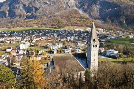 liechtenstein: Valley in Liechtenstein, surrounded by the Alps Stock Photo