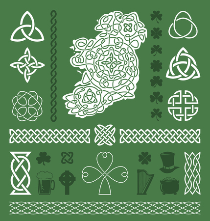 irish map: Collection of celtic  irish vector design elements