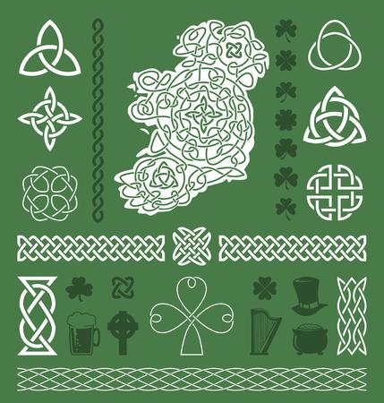 Colección de elementos céltico / irlandés del diseño del vector
