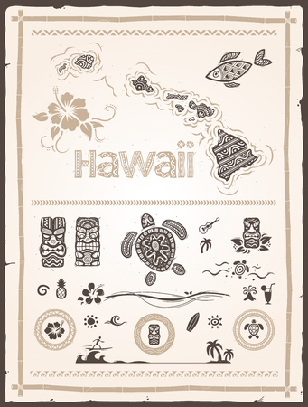 collection of various hawaiian and polynesian design elements Çizim