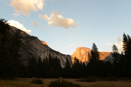 Golden Half Dome under the setting sun landscape scenery view