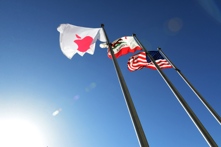 Flags   at Apple Campus office Редакционное