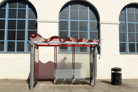 Solar powered bus shelter in San Francisco city