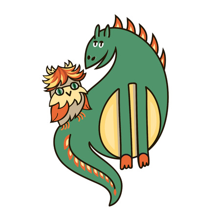 owlet: lovely dragon and owlet Illustration