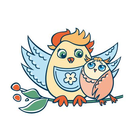 owlet: Pollo y owlet Vectores