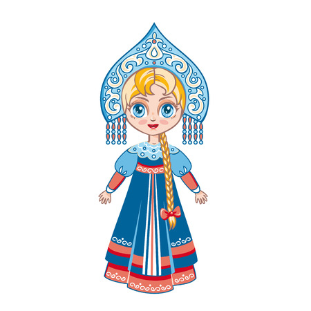 the Russian girl in a national suit Vector