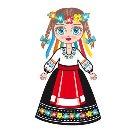 period costume: Ukrainian girl Illustration