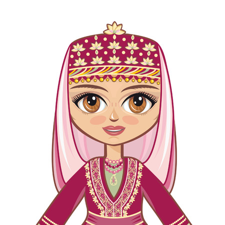 azerbaijanian: Portrait of the Azerbaijani girl. Avatar. Illustration