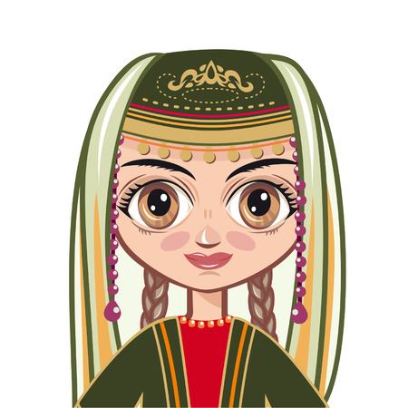 armenian: Portrait of the Armenian girl. Avatar. Illustration