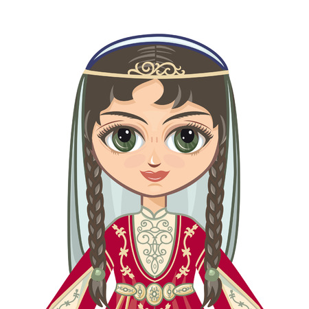 historical: The girl in the Chechen suit. Historical clothes. Portrait avatar Illustration