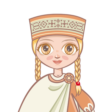 latvia girls: Portrait avatar. girl in the Latvian suit. Historical clothes Illustration