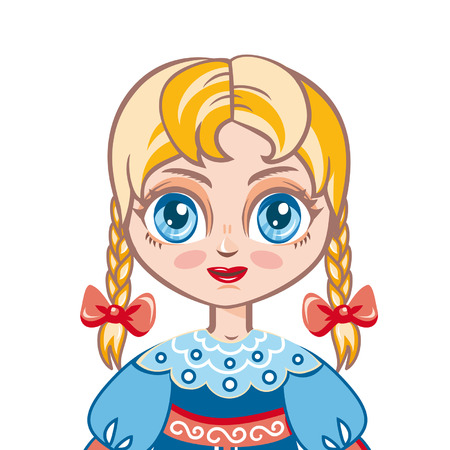 matreshka: portrait avatar. the girl in the Russian national suit. Historical clothes