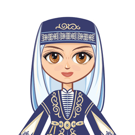 caucasus: The girl in the Chechen suit. Historical clothes. Chechen39s portrait Avatar