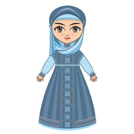 woman isolated: The doll in Muslim dress.