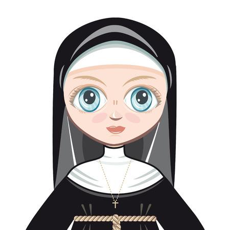 Doll in a monastic dress. Portrait avatar Vector