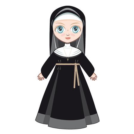sotana: Muñeca en un vestido monástica. Vectores