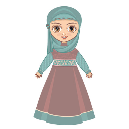 historical: Portrait avatar. The doll in Muslim dress. Illustration