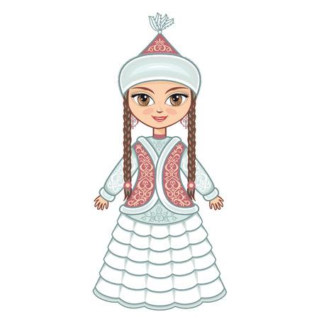 The girl in Kazakh dress. Historical clothes. Illustration