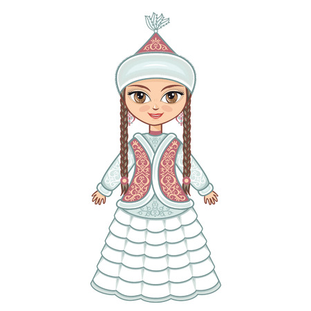 kazakh: The girl in Kazakh dress. Historical clothes. Illustration