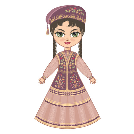 caucasus: The girl in Tatar dress. Historical clothes.
