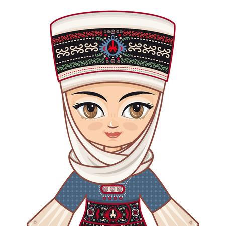manga girl: Portrait, avatar. The girl in Kyrgyz dress. Historical clothes.