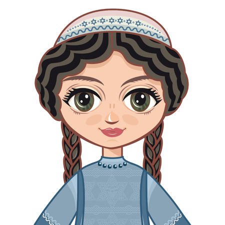 jews: The girl in Orthodox Jews dress. Portrait, avatar. Linear pattern on a white background. Line drawing festive. Vector drawing.