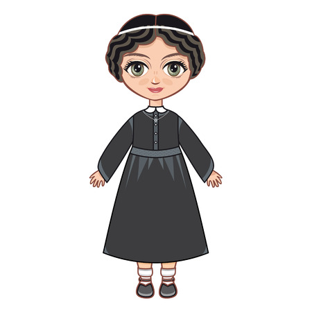 jews: The girl in Orthodox Jews dress. Linear pattern on a white background. Line drawing festive. Vector drawing. Illustration