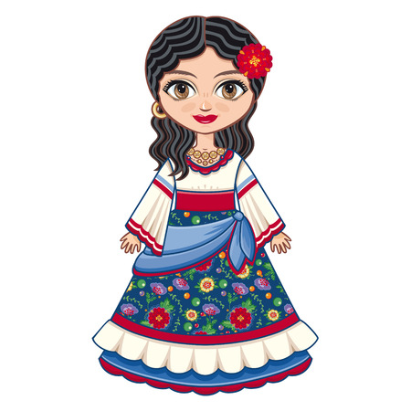 The girl in Gipsy dress. Historical clothes. Linear pattern on a white background. Line drawing festive. Vector drawing. Illustration