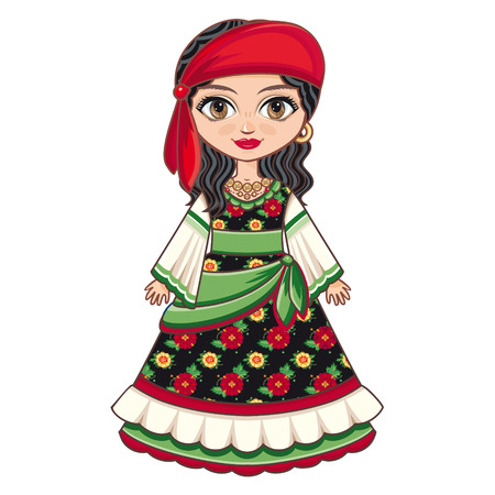 The girl in Gipsy dress. Historical clothes. Linear pattern on a white background. Line drawing festive. Vector drawing. Vectores