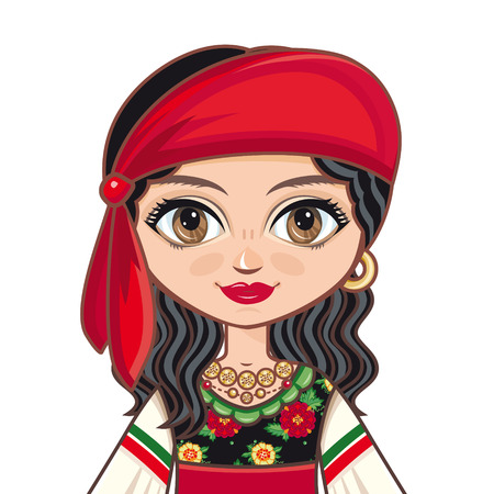hindus: The girl in Gipsy dress. Historical clothes. Portrait, avatar. Linear pattern on a white background. Line drawing festive. Vector drawing.